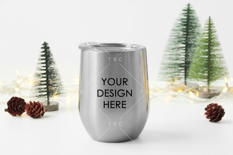 Christmas Wine Tumbler Mockup example image 1