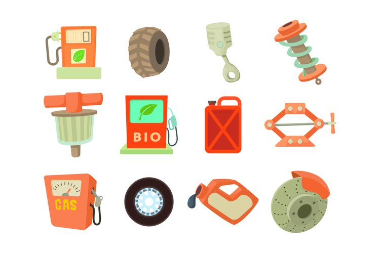 Car tools icon set, cartoon style example image 1