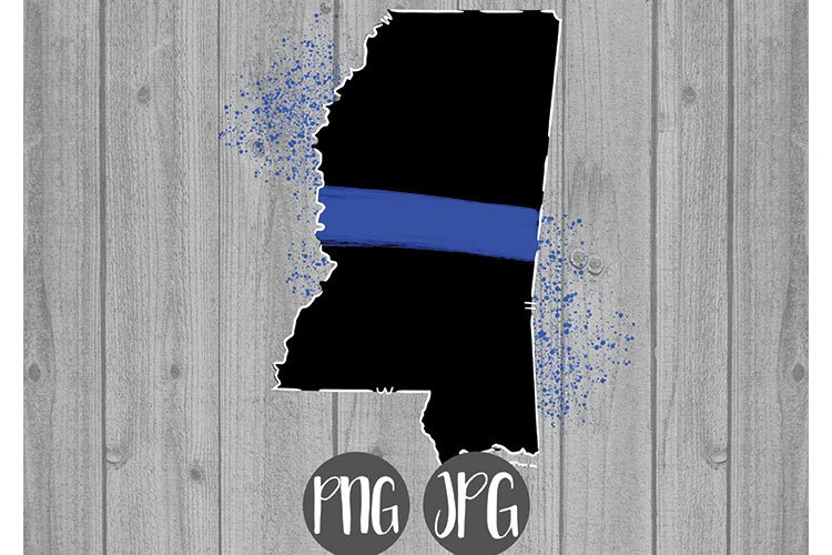 Thin Blue Line Mississippi Clipart example image 1