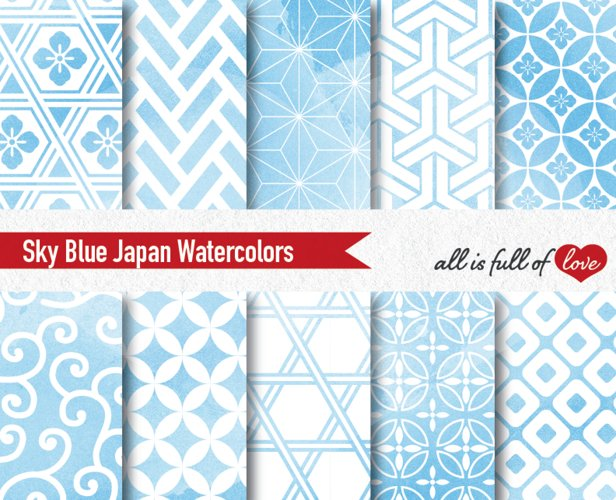 Blue Watercolor Digital Paper Japan Background Patterns Soft Blue example image 1