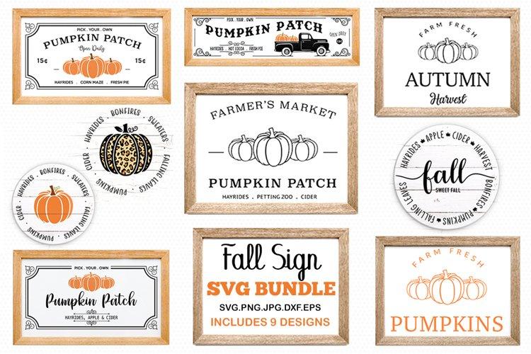 Fall sign bundle, pumpkin SVG, Fall Circle SVG, fall svg example image 1