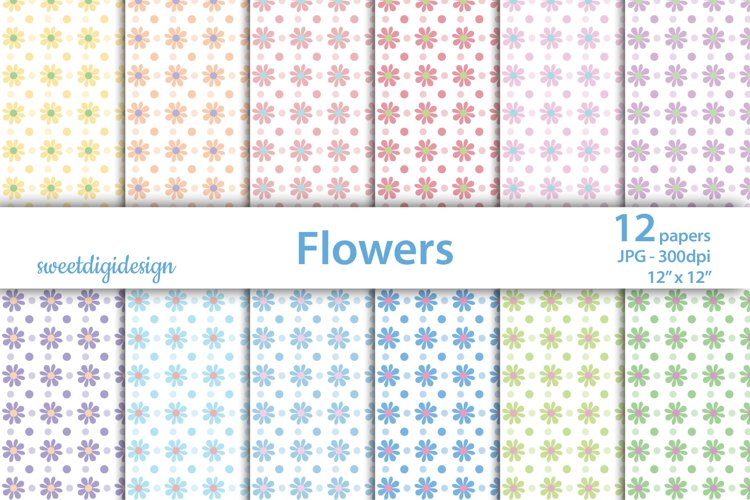 Flowers mixed backgrounds, pastel floral digital paper example image 1