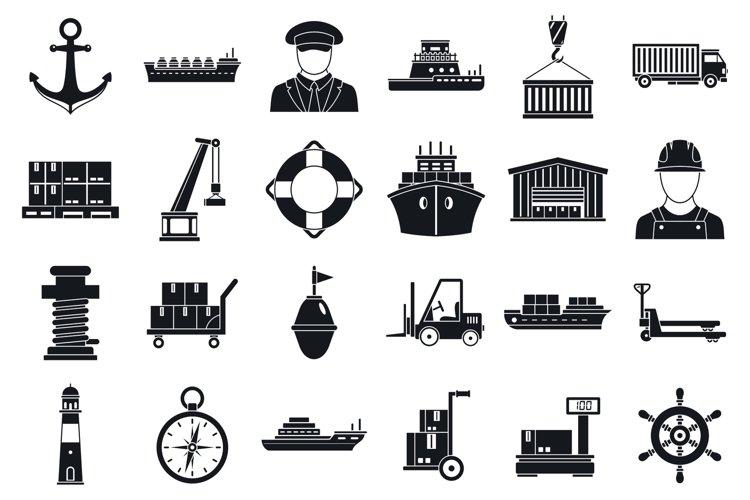 Marine port transport icons set, simple style example image 1