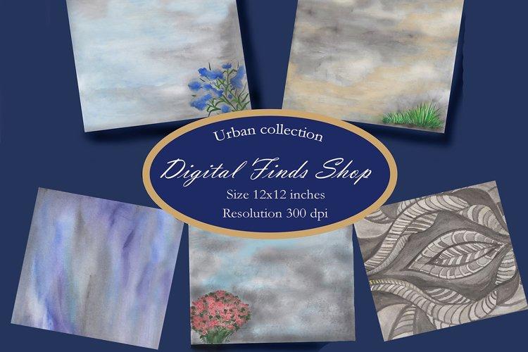 Grey background, watercolor grey digital paper pack