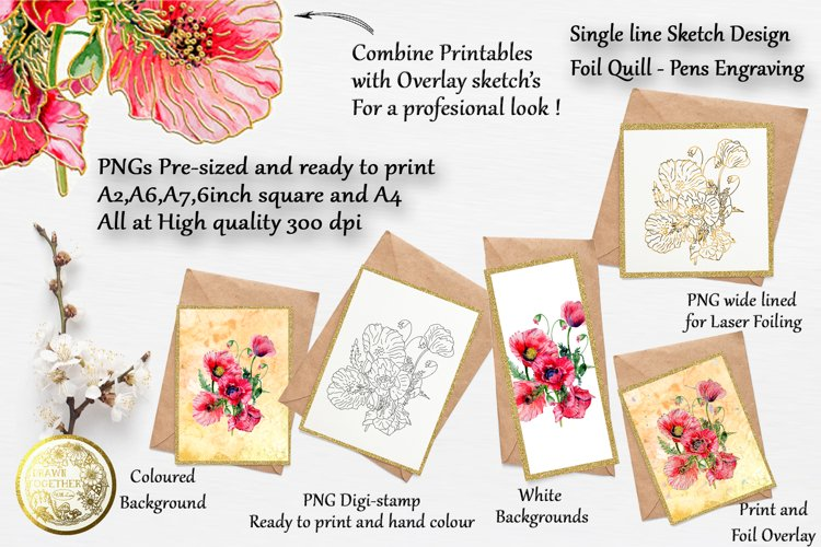 Poppies 3 - Card Kit | Single line file | Digi stamps