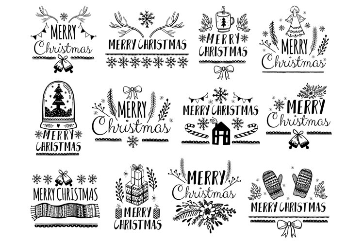 Merry Christmas doodle style collection. example image 1