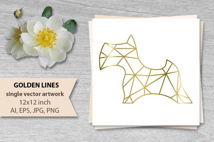 GOLDEN LINES, DOG- single vector artwork example image 1