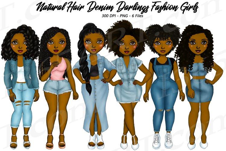 Denim Girls jeans BFF Black Woman Natural Hair Clipart PNG