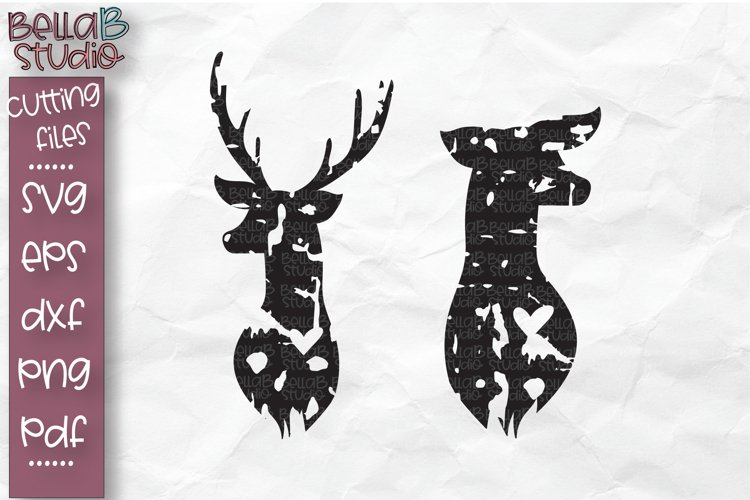 Buck and Doe SVG, Deer Head Cut file, Valentine's Day example image 1