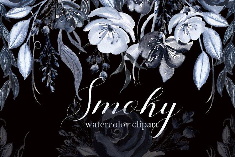 Smoky. Black grey watercolor flowers example image 1