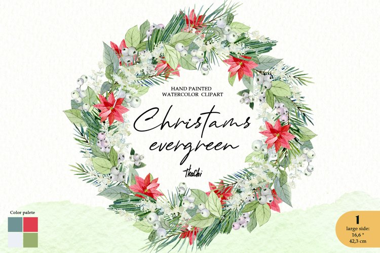 Watercolor christmas wreath clipart. Greenery frame example image 1