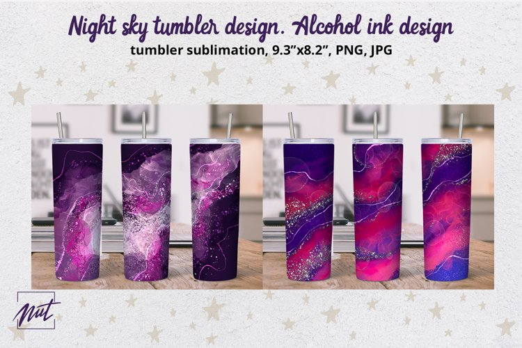 Tumbler wrap design| Night sky skinny tumbler sublimation