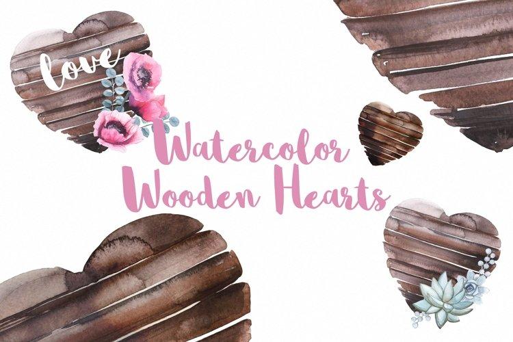 Watercolor Wooden Hearts
