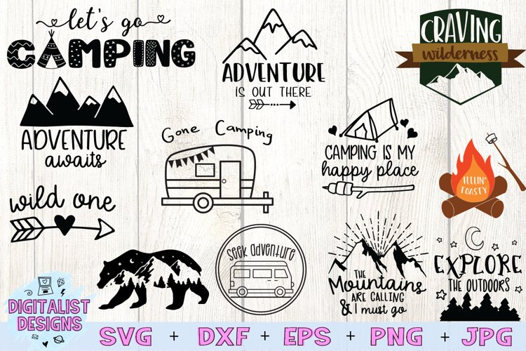 Happy Camper SVG Bundle, 12 Camping SVG Designs example image 1