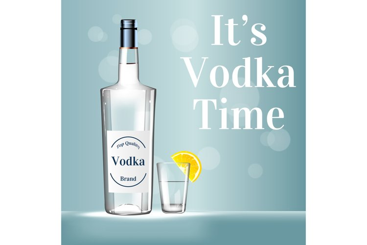 It's vodka time realistic vector product ads poster template example image 1