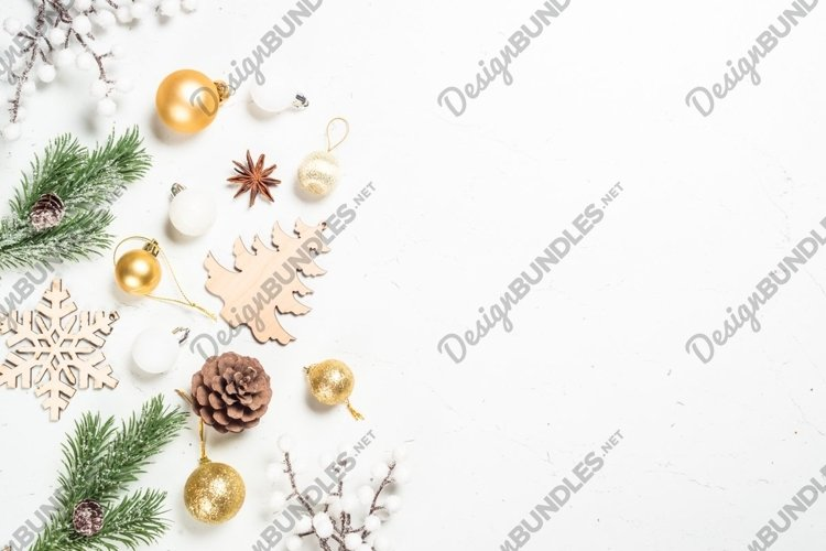 Christmas background at white with wooden toys example image 1