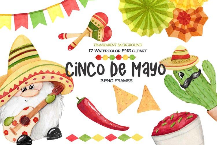 Watercolor Cinco de Mayo gnome png clipart. Mexican holiday