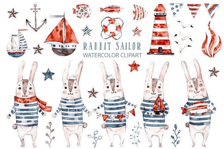 Cute Rabbit sailor. Kids watercolor sea clipart. Baby Bunny example image 1
