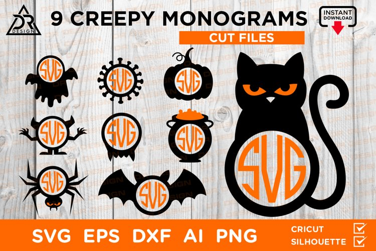 9 Creepy Halloween Monograms example image 1