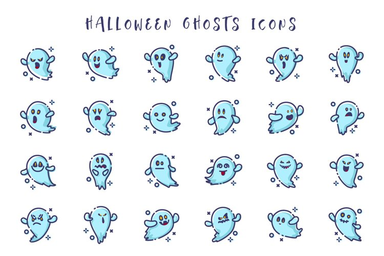 Halloween Ghosts emoji - icons set example image 1