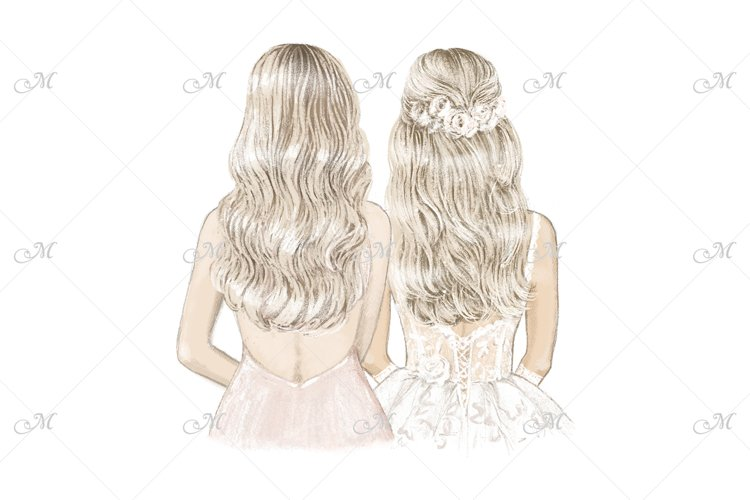 Blondes Bride & Bridesmaids, hand drawn illustration