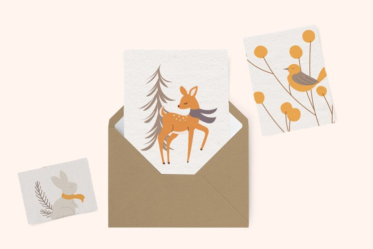 Winter Woodland Animals Vector Clipart example 1