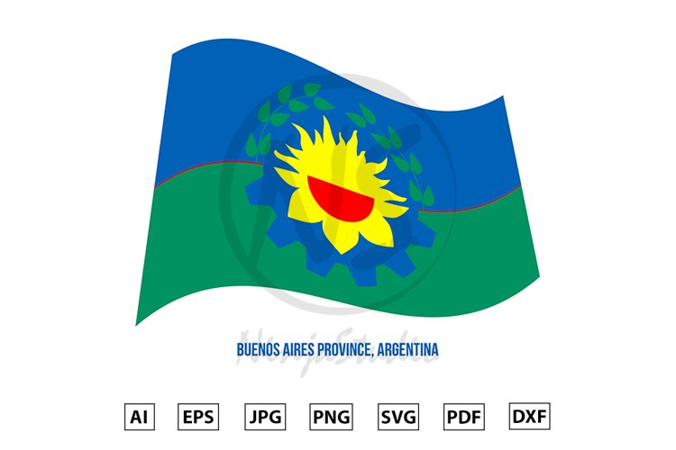Buenos Aires Flag Waving. Flag of Argentina Provinces example image 1