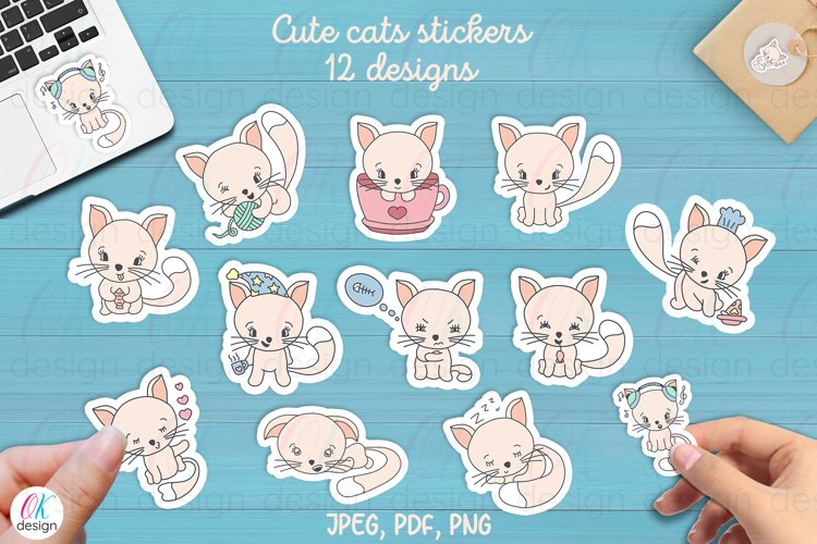Funny Cats Printable Stickers. 12 cute cats.