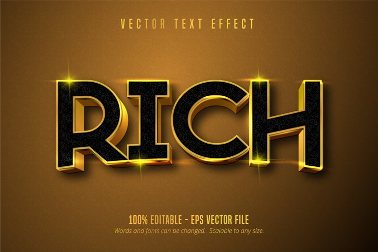 Rich text, shiny gold style editable text effect example image 1