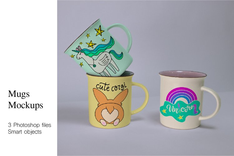 Mugs Mockups. 3 PSD files with smart objects. example image 1