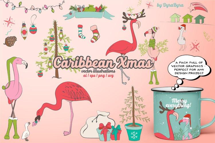 Flamingo Christmas Illustrations example image 1