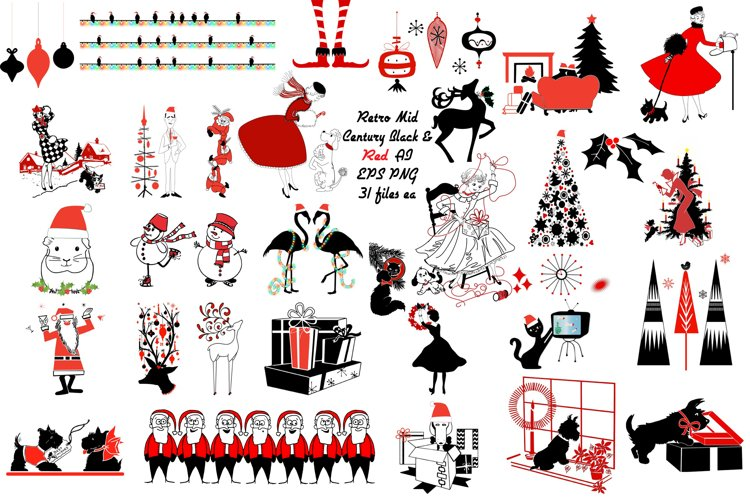 Retro Mid Century Black and Red Christmas AI EPS PNG