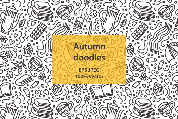 Autumn vector doodle pattern example image 1