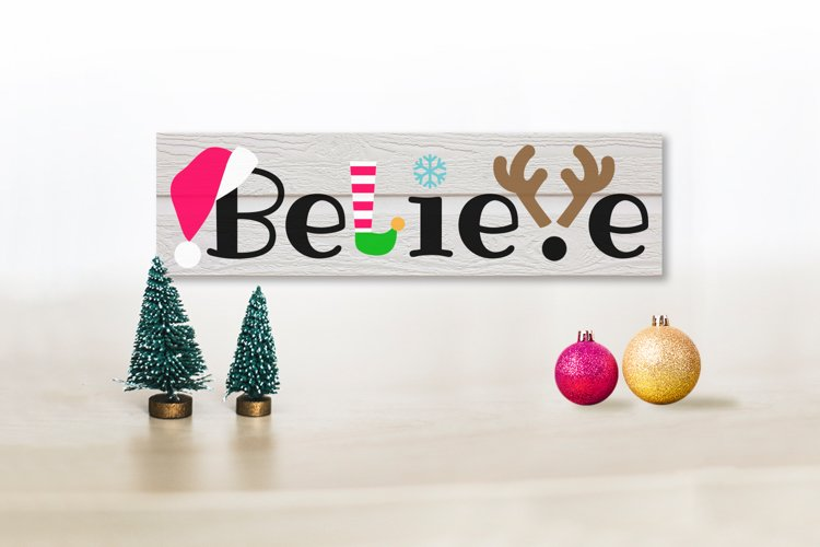 Christmas Believe Word Art SVG File Cutting Template example image 1