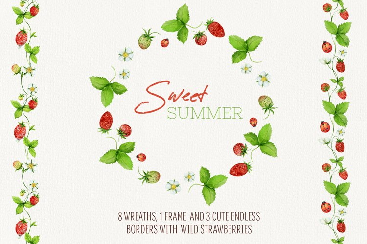 Watercolor summer wreaths and borders with wild strawberries example image 1