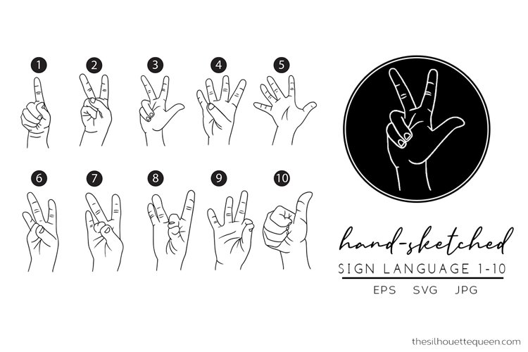 Sign Language 1-10 Svg Cut File