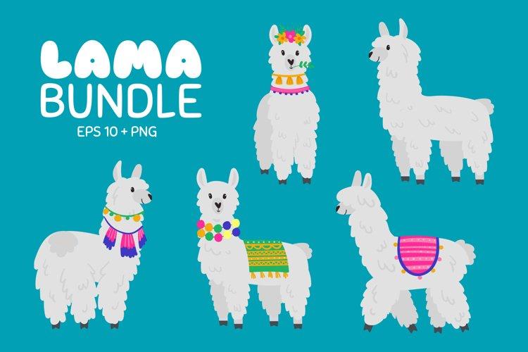 Lama and Alpaca Bundle Clipart PNG EPS