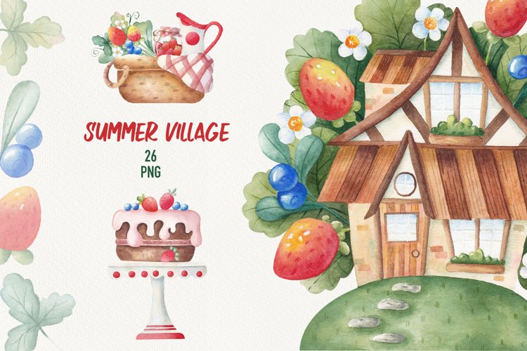 Watercolor strawberry clipart. Cute House. Summertime.