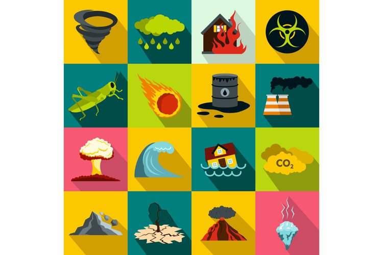 Natural disaster icons set, flat style example image 1
