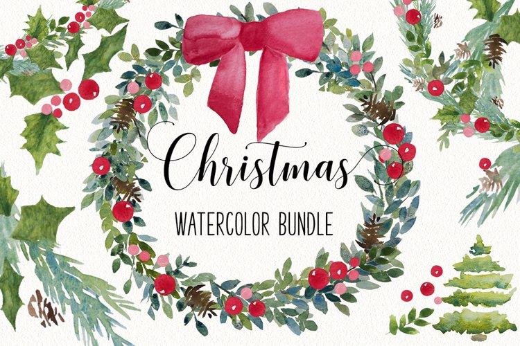 Big Holiday Christmas PNG watercolor Clip Art Bundle!