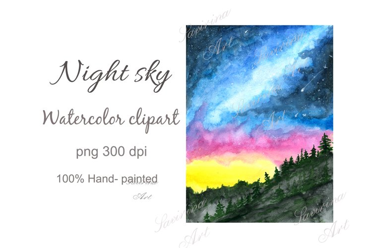 Galaxy Painting,Watercolor clipart Lights , night sky PNG.