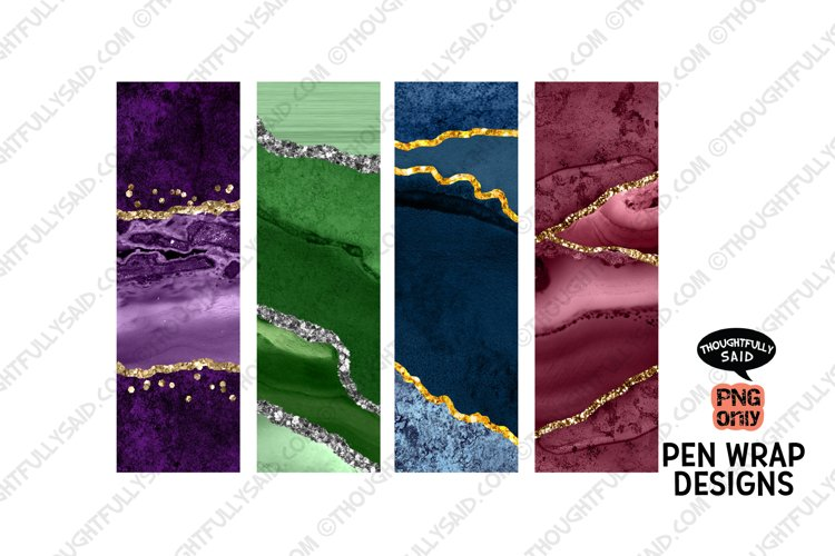 Pen Wrap Set, Sublimation PNGs, Marbled with Glitter Designs