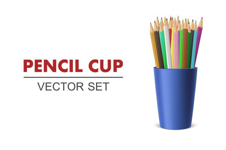 Pencil cup. Vector set. example image 1