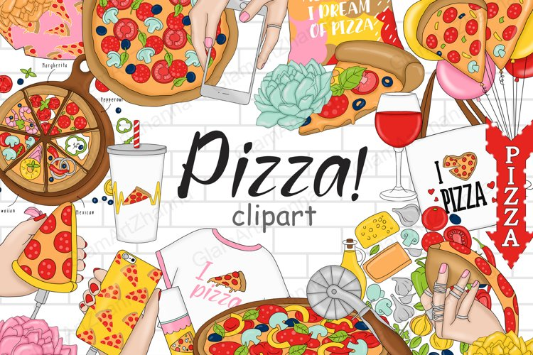 Pizza CLIPART Food Party Cooking Kitchen Baking Art - PNG example image 1