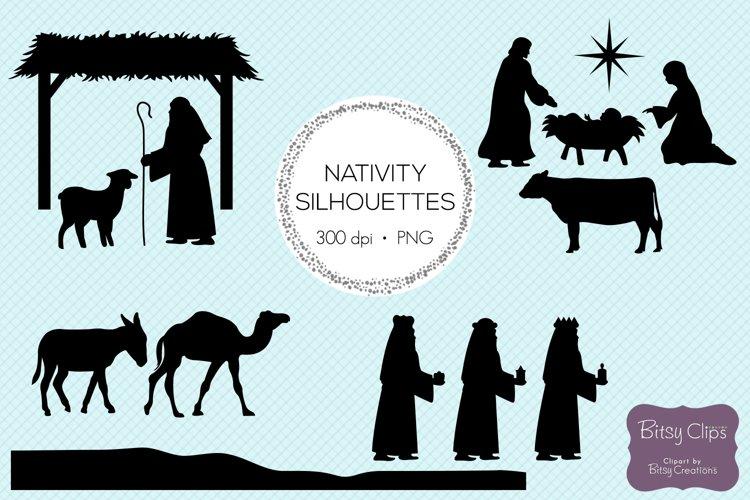 Christmas Nativity Silhouettes Digital Art Set Clipart example image 1