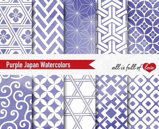 Purple Digital Paper Japanese Background Patterns example image 1