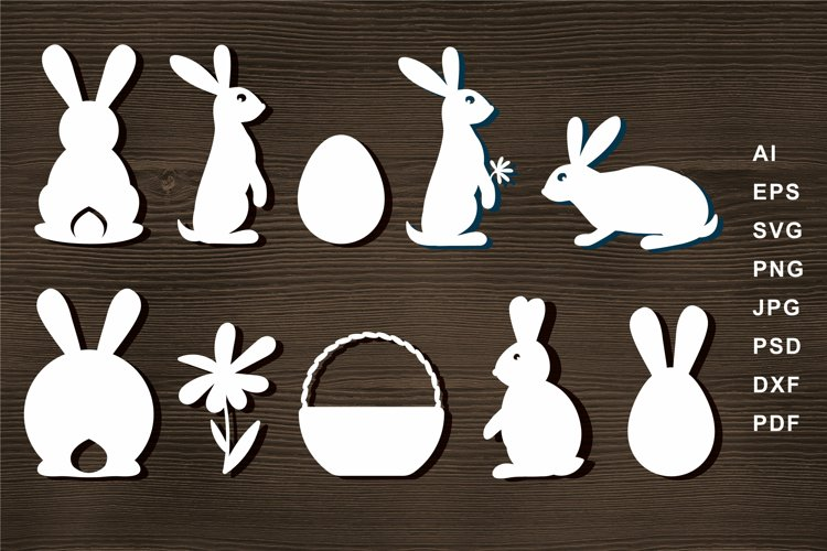 Bunny silhouette SVG Cut file for Crafters Easter Egg Basket example image 1