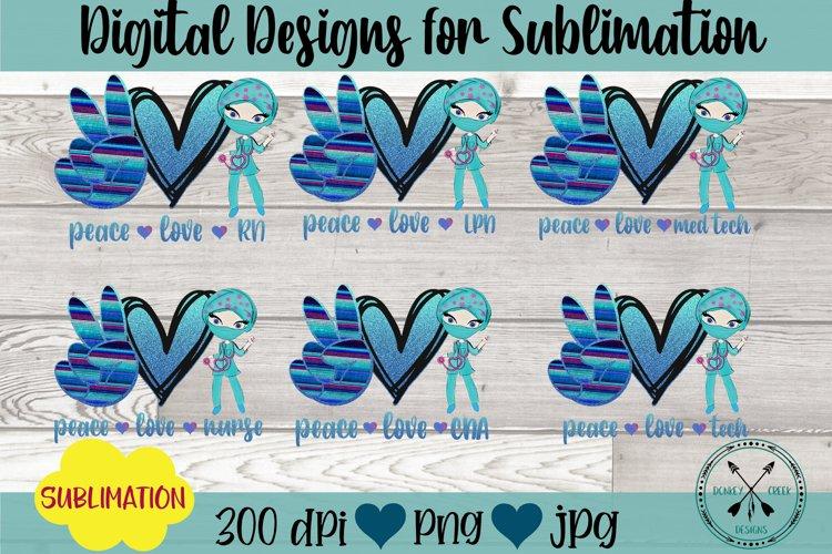 Nurse Peace Love Sublimation Bundle Hand drawn Clipart example image 1