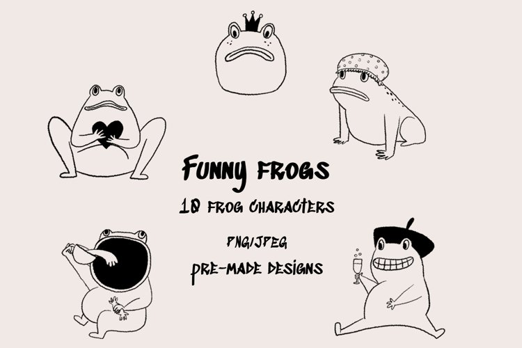 Funny frogs characters - digital clip art set example image 1