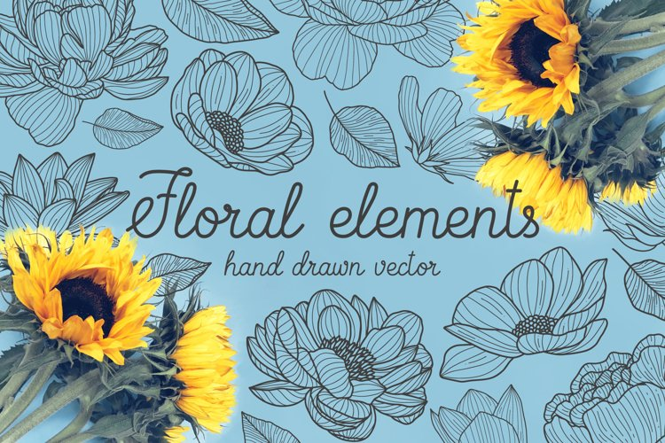 Hand drawn floral elements example image 1